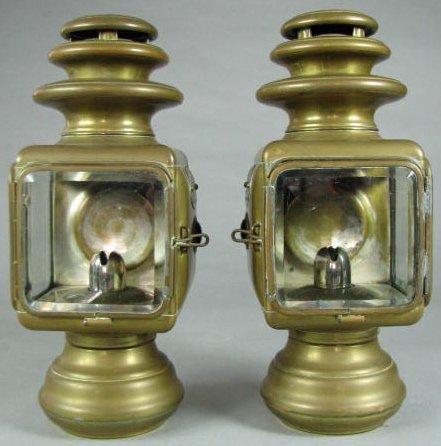 """Pair Dietz """"Sterling Junior"""" Brass Lanterns"""