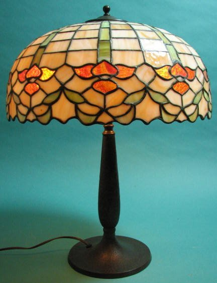 Handel Lamp With Leaded Glass Shade