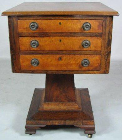 Empire Three-Drawer Pedestal Work Table