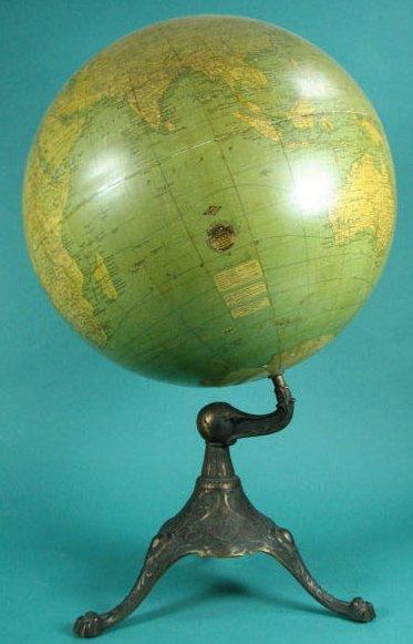 """18"""" Globe on Bronzed Cast Iron Base"""
