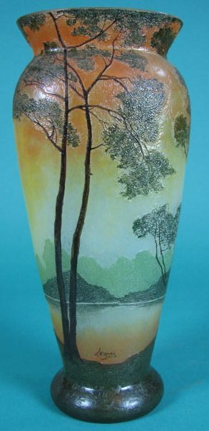 French Cameo Glass Vase, Signed Legras