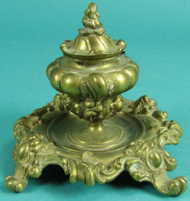 Brass Footed Covered Inkwell