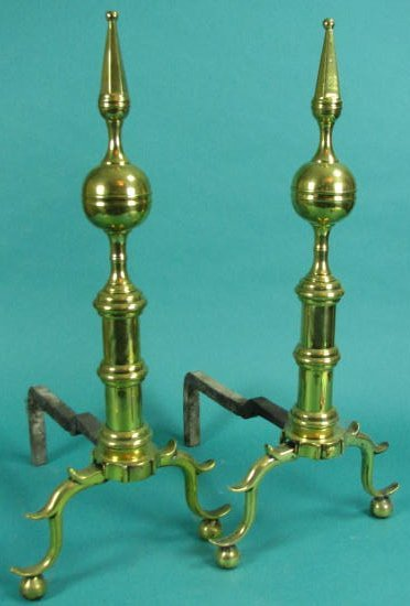 Pair Brass Steeple-Top Andirons