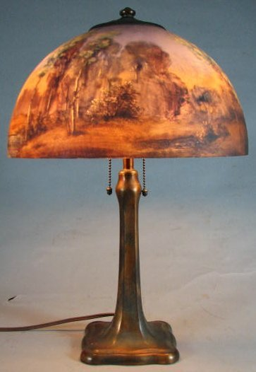 Handel Table Lamp With Reverse-Painted Etched Glass Sha