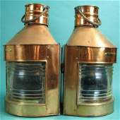 Pair Copper Port and Starboard  Ships' Lanterns