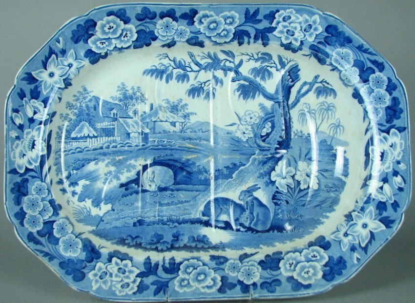 English Blue/White Transferware Well and Tree Platter