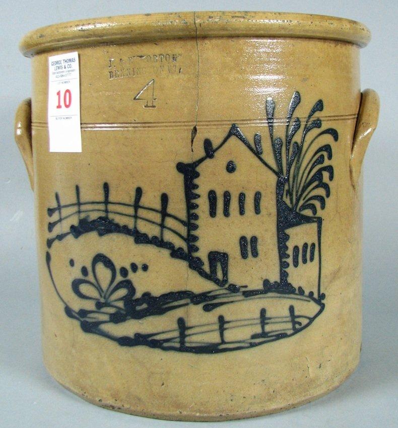 Decorated Stoneware 4-Gallon Crock
