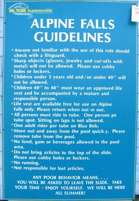 """Mt. Tom Summerside """"Alpine Falls"""" Guidelines Sign"""