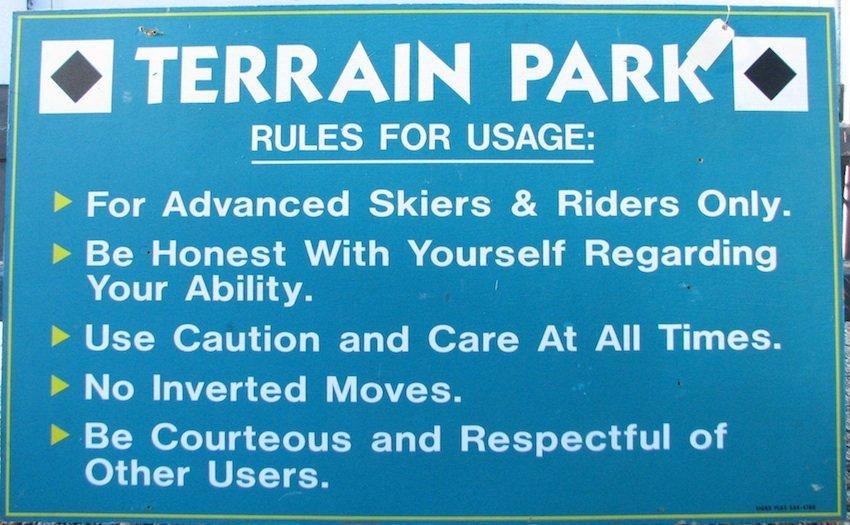 Mt. Tom Terrain Park Rules Sign