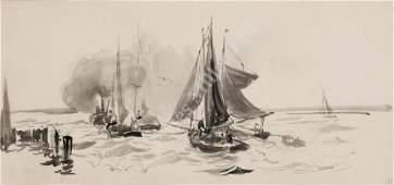WILLIAM LIONEL WYLLIE (1851-1931) Putting to Sea