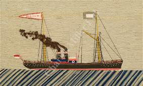 A LATE 19TH/EARLY 20TH CENTURY SAILOR'S WOOLWORK
