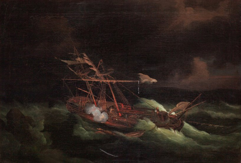 14: ENGLISH SCHOOL, 18TH CENTURY A ship in a gale about