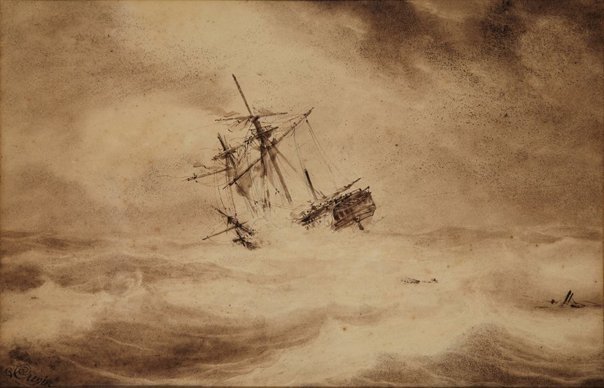 LOUIS-PHILLIPPE CREPIN (1772-1851) Ship in Distress Sig