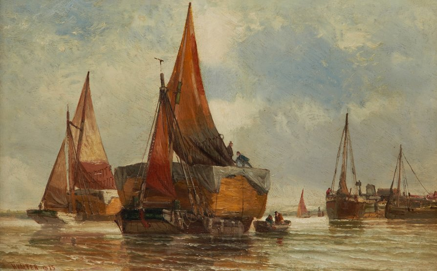 HENRY VALTER (BRITISH, 1854-1897) Hay Barges on the Tha