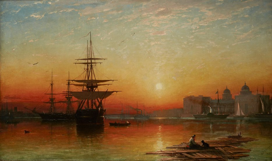 JAMES FRANCIS DANBY (BRITISH, 1816-1875) Sunset over th