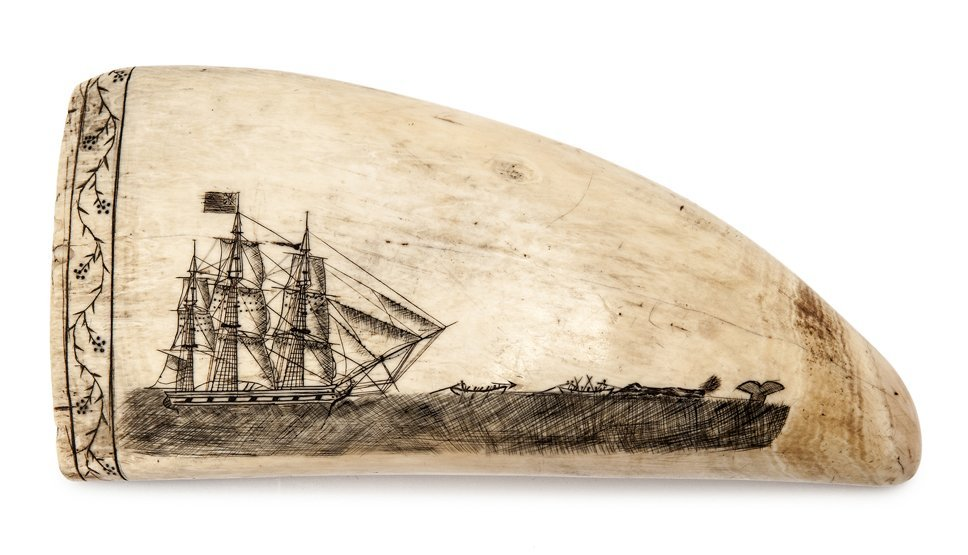 Ø A FINE MID 19TH-CENTURY SCRIMSHAW-DECORATED WHALE'S T