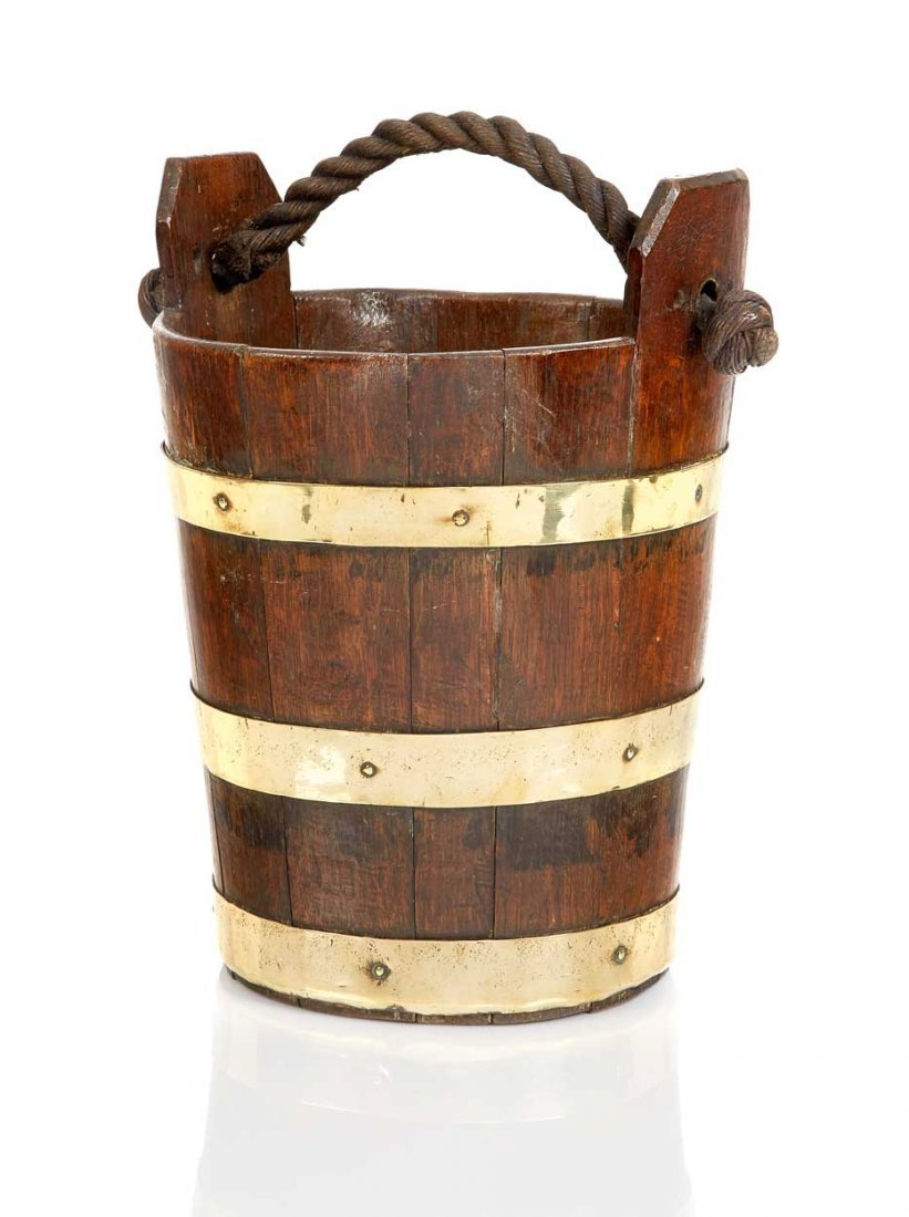 AN 18TH/19TH CENTURY OAK AND BRASS SHIP'S BUCKET