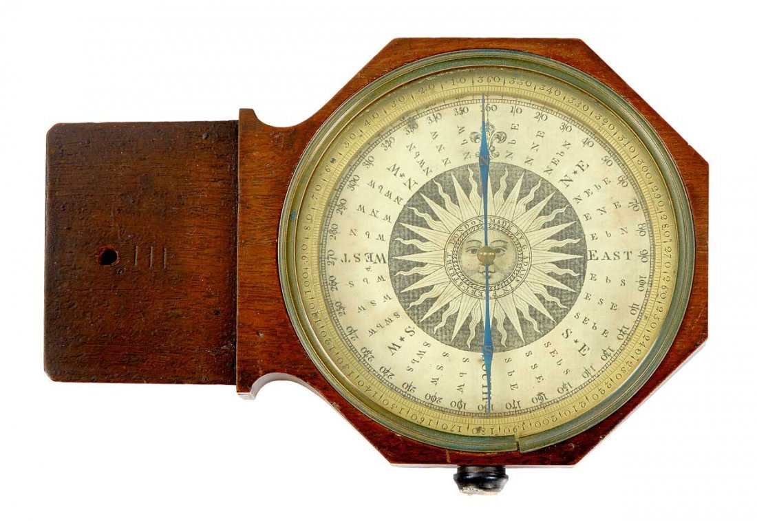 PLANE TABLE SURVEYING COMPASS BY GEORGE ADAMS SR, C1740