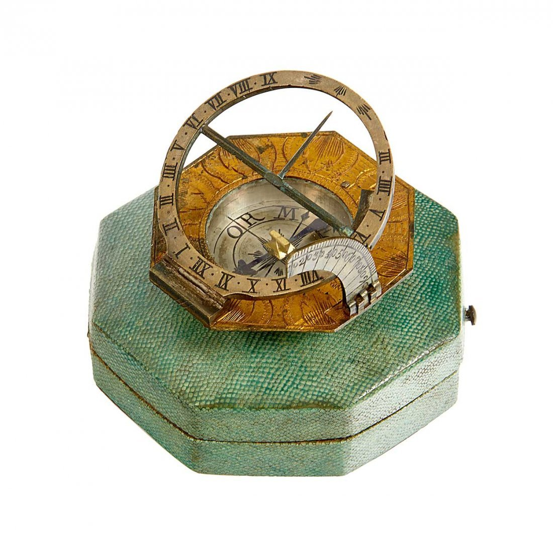 AN 18TH-CENTURY VOGLER-TYPE COMPASS SUNDIAL