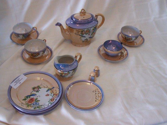 13: 1940's Japanese Lusterware Partial Set