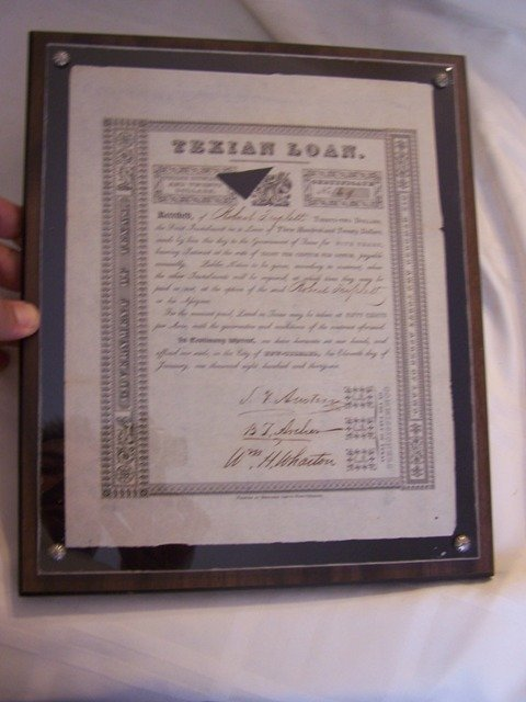 29:  1836 Texian Loan Document Signed Stephen F. Austin
