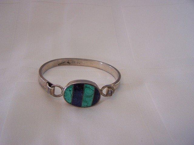 56: Fabulous Sterling Silver Bangle Bracelet Blue Lapis