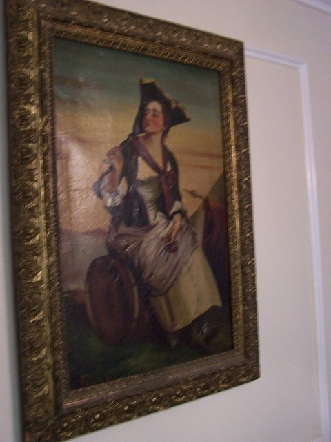6A: Museum Grade Molly Pitcher Revolutionary War Oil Pa