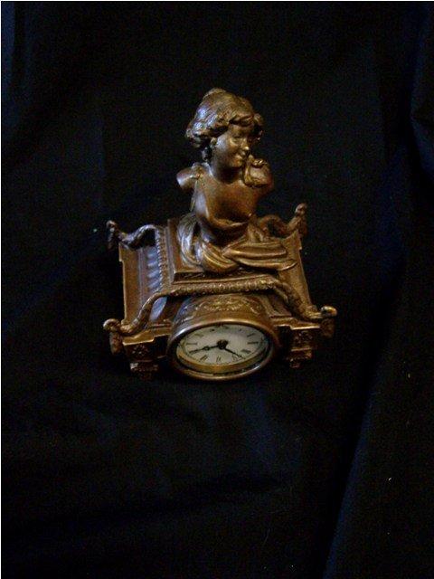 Art Nouveau Style Bronze Windup Clock