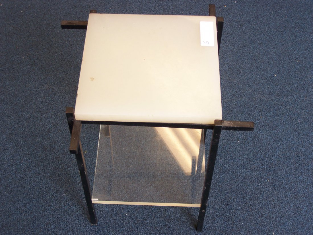 Mid Century Medal Lucite Onyx Side Table