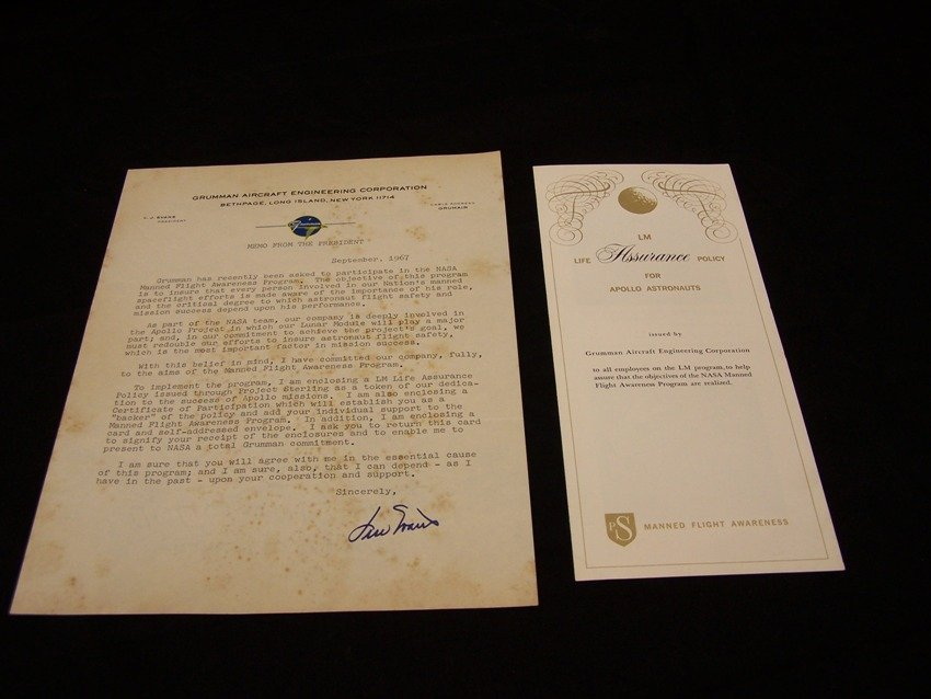 LM Life Assurance Policy for Apollo Astronauts Grumman