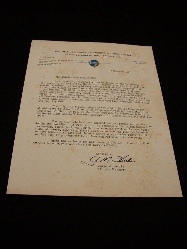 Early Lunar Module Grumman Related Letter