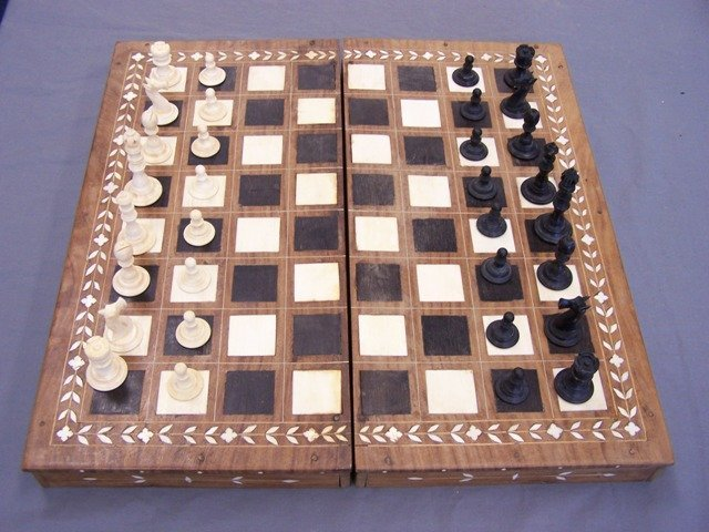 Wonderful Rare Elephant Ivory Chess Set From India
