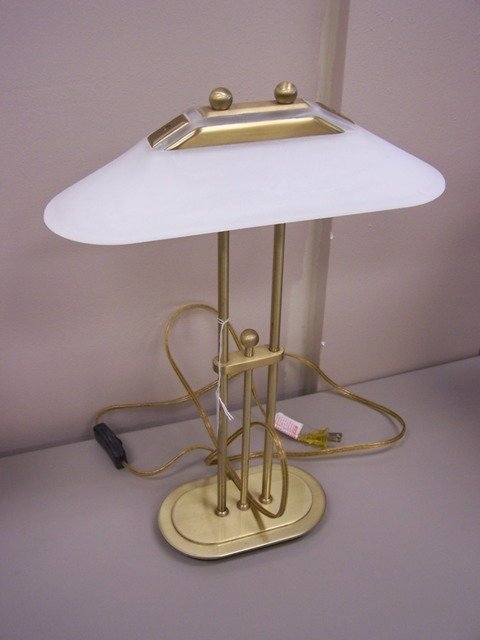 Unique 1970's Glass Shade Lamp
