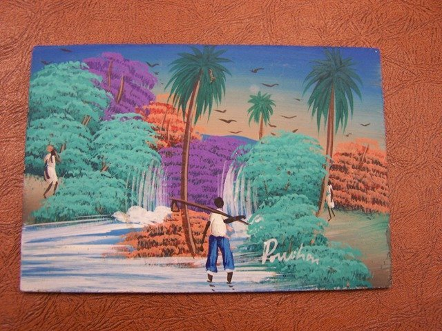 Jamaican Haitian Signed Tropical Picture
