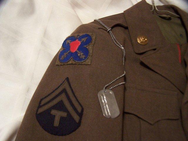 Named WW11 Field Wool Jacket 7th  Army Gold Bullion