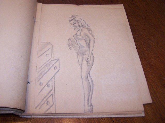 Mid Century Original Art Scrapbook Risqué Ladies