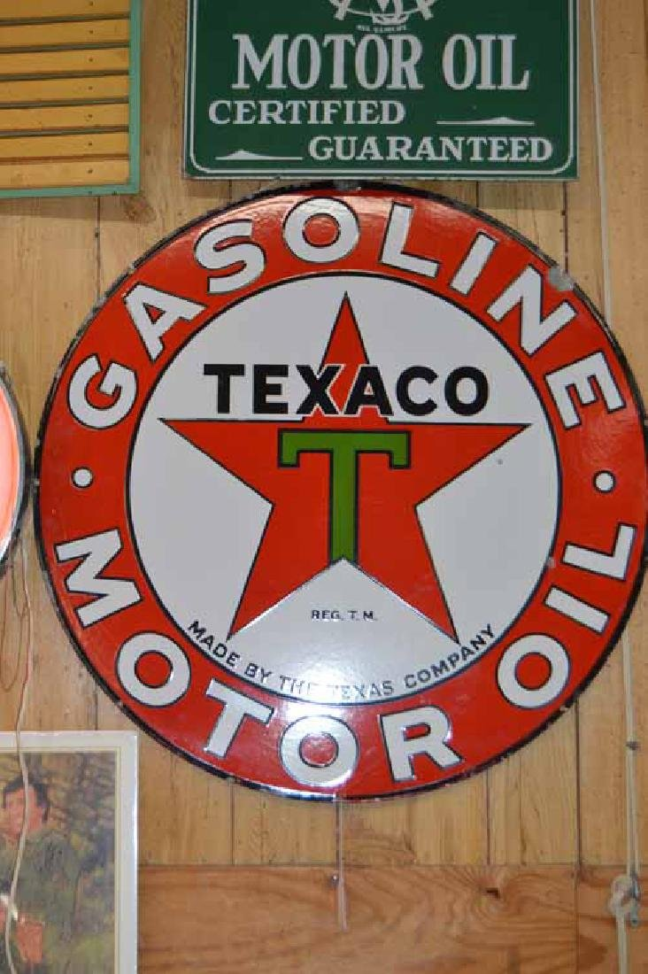 Texaco Double Sided Porcelain Sign w/Outlined Black T