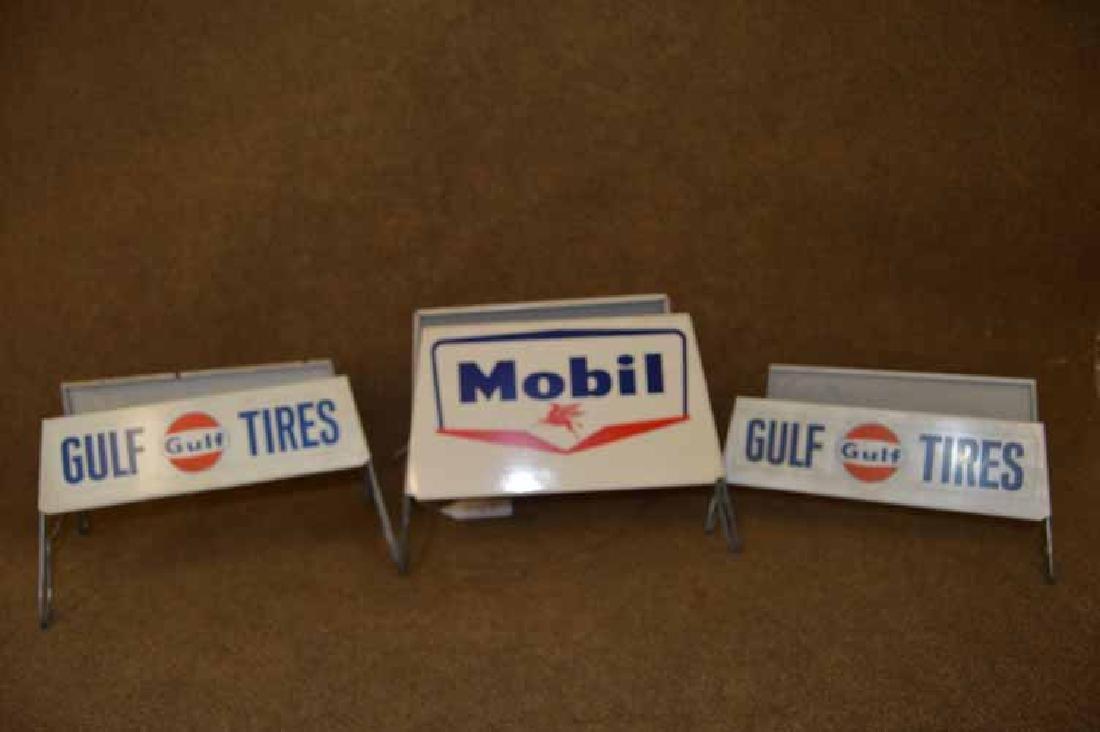 (3) Tin Tire Display Racks To Inc: (2) Gulf & (1) Mobil