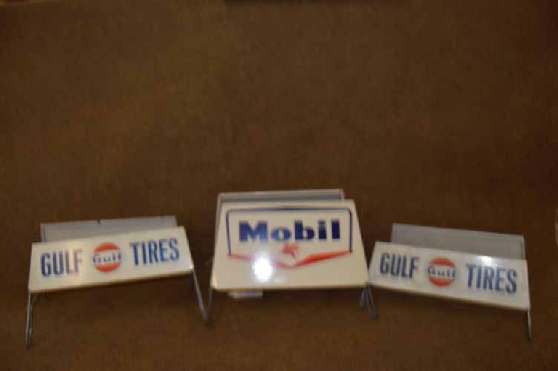 (3) Tin Tire Display Racks To Inc: (2) Gulf & (1) Mobil - 2