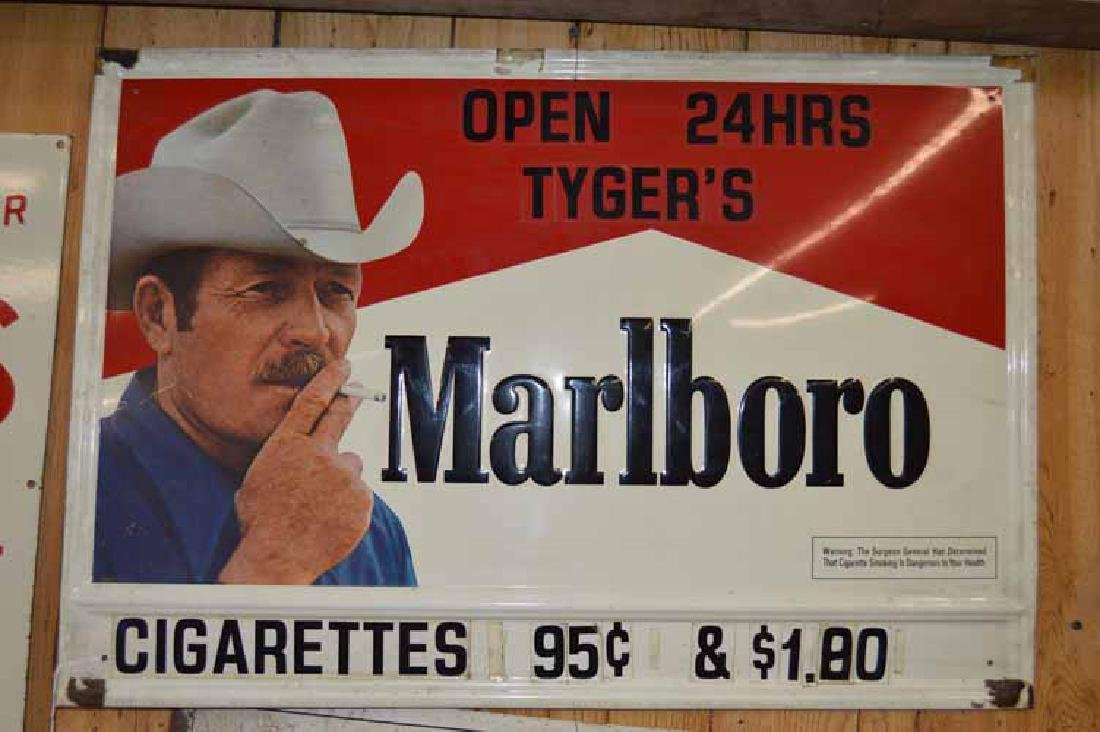 """Tin Marlboro Sign From """"Tygers"""" Store Open 24 Hours w/"""