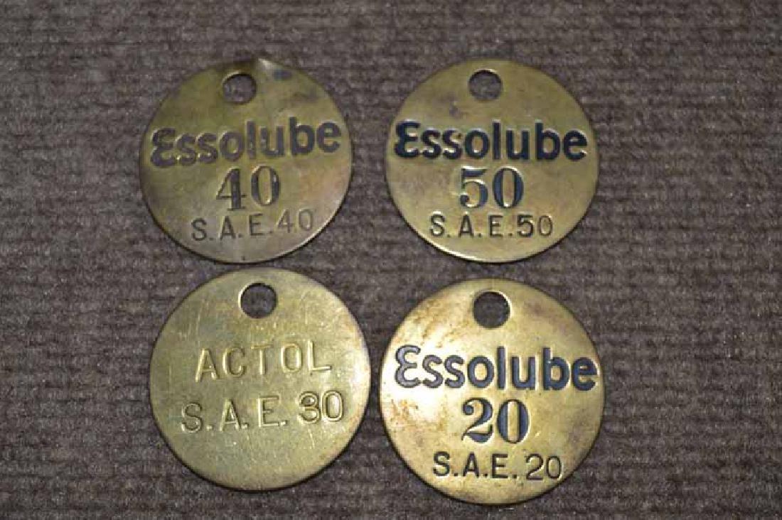(4) Brass Motor Oil Bottle Tags