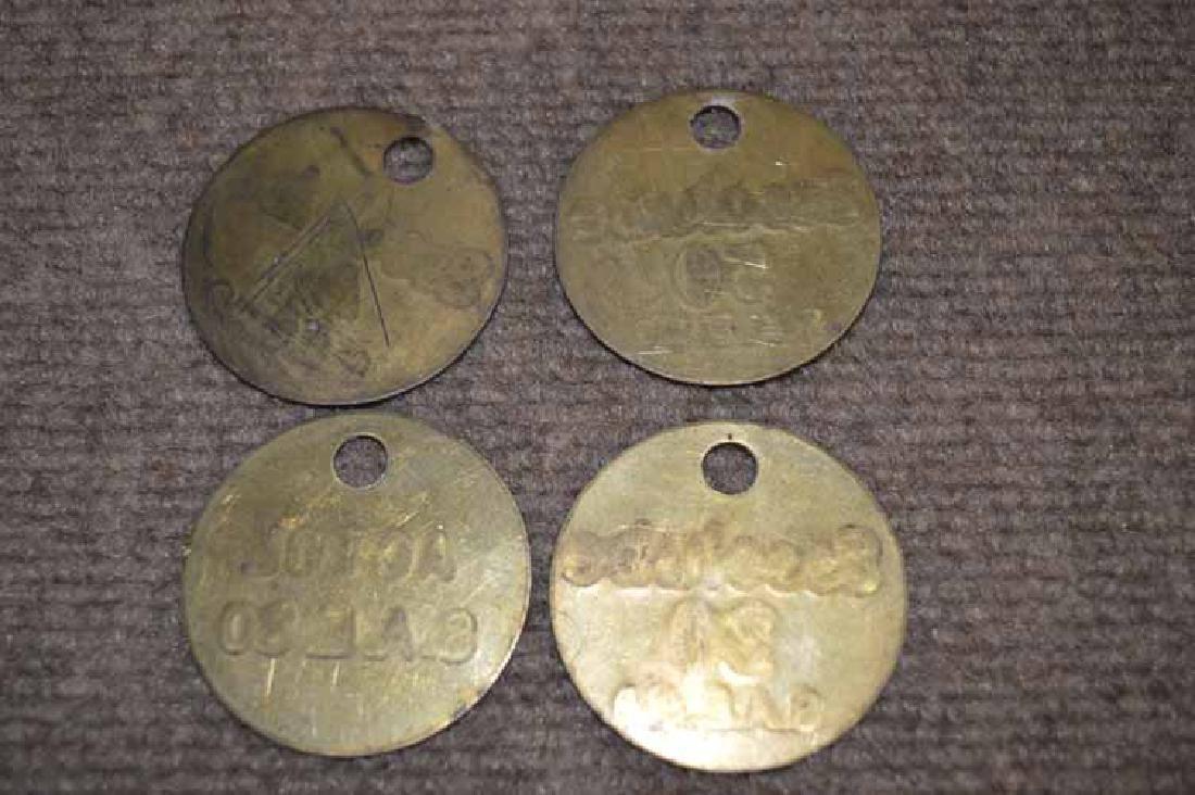 (4) Brass Motor Oil Bottle Tags - 2