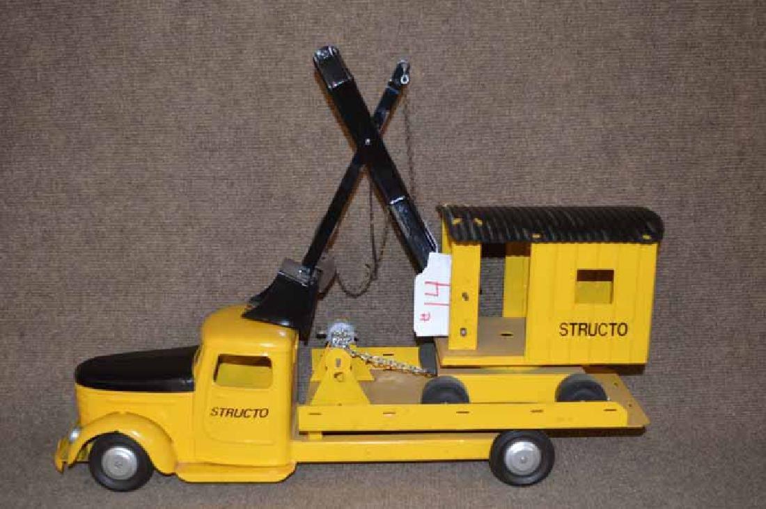 Structo Pressed Steel Flat Bed Truck W/ Steam  Shovel