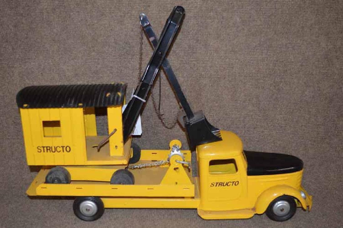 Structo Pressed Steel Flat Bed Truck W/ Steam  Shovel - 3