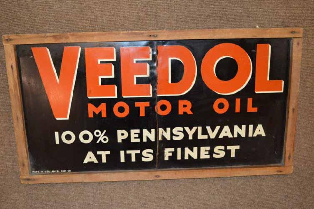 Veedol Motor Oil Tin Sign in Frame