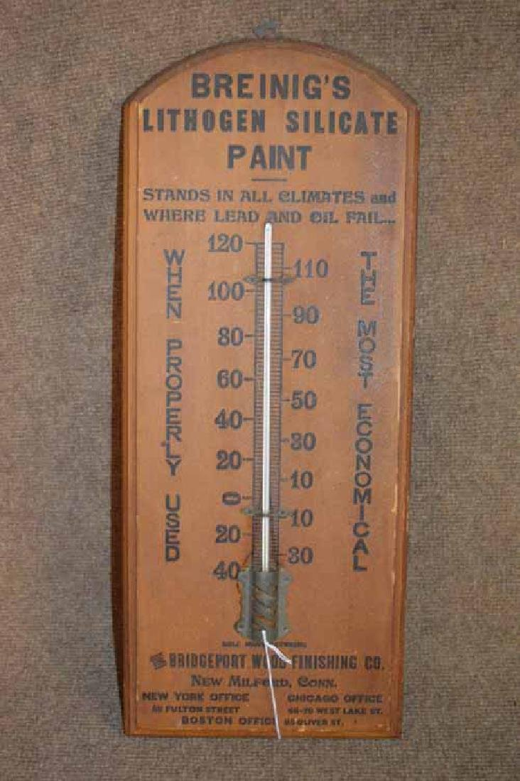 Wooden Breinig's Lithogen Silicate Paint Thermometer