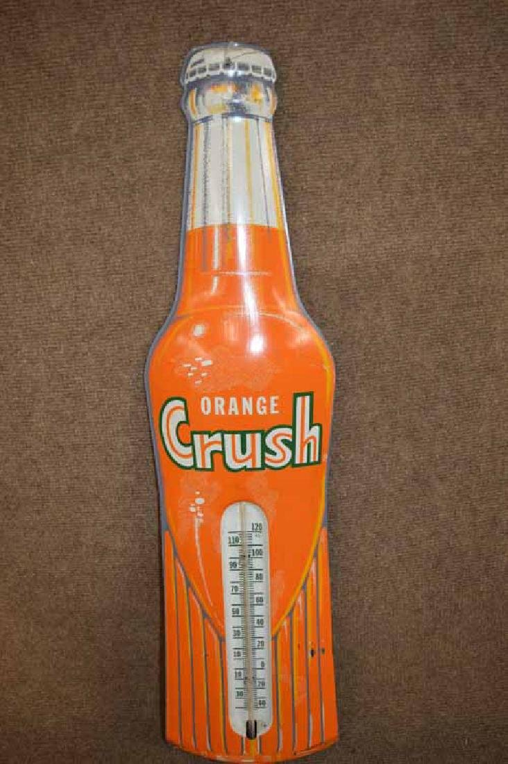 Orange Crush Bottle Tin Thermometer
