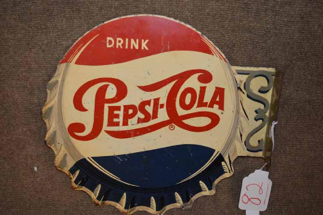 Drink Pepsi-Cola Double Sided Tin Flaged Bottle Cap