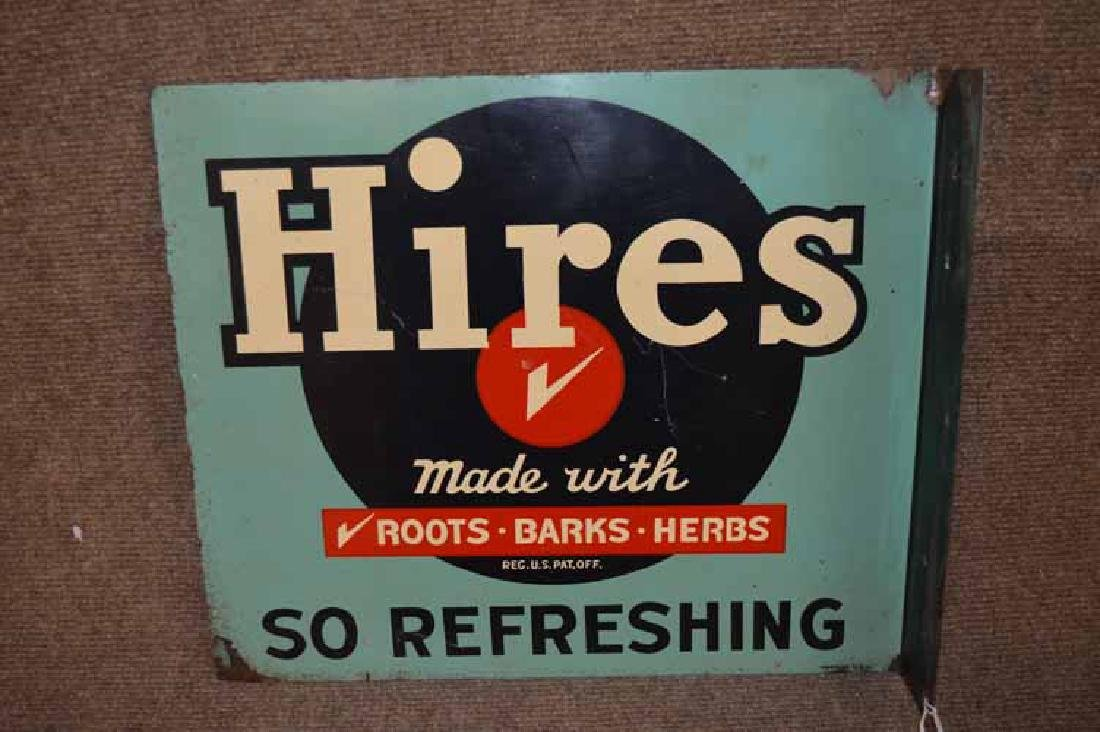 """""""Hires So Refreshin""""g Double Sided Tin Flange Sign"""