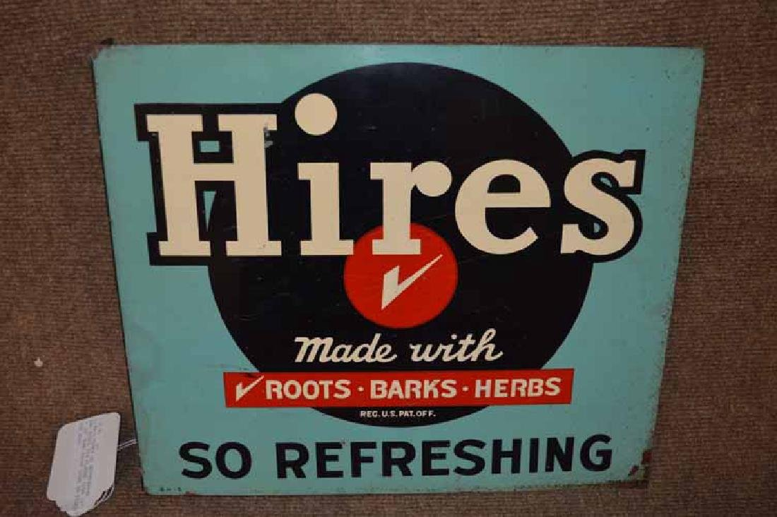 """""""Hires So Refreshin""""g Double Sided Tin Flange Sign - 2"""